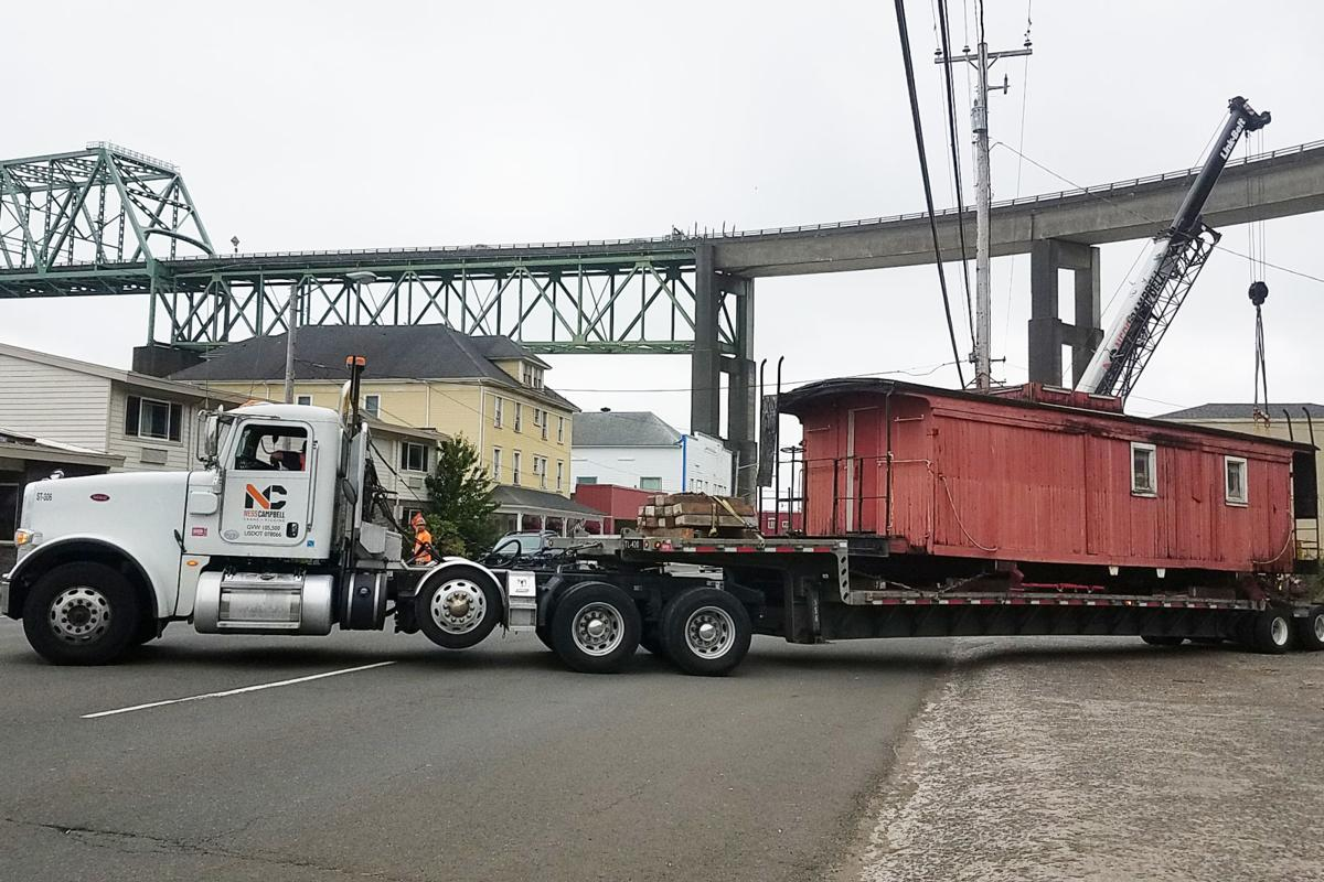 Caboose leaves Astoria