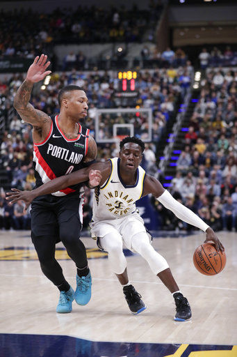 Trail Blazers use 2nd-half charge to get past Pacers 103-93