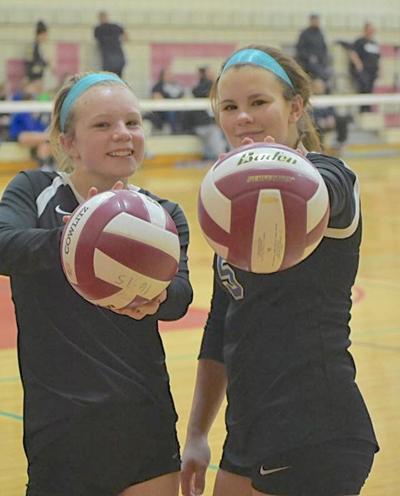 Hailey O'Brien, Julie Norris, AHS volleyball