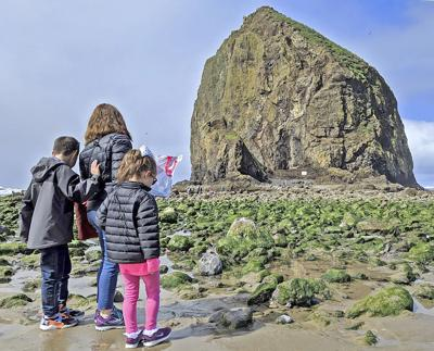 Erosion takes a bite — or two — from Haystack Rock