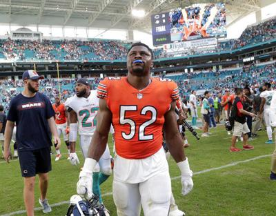 Bears' Khalil Mack practices but questionable for Patriots