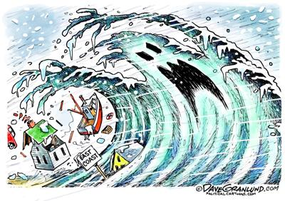 Editorial cartoon: East Coast storm