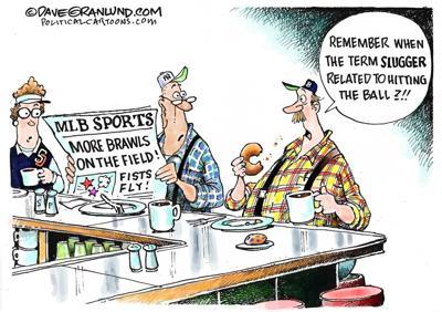 Editorial cartoon: Baseball sluggers