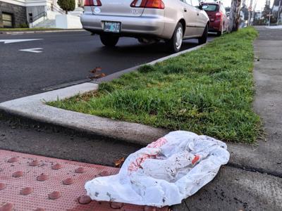 Plastic bag in downtown Astoria
