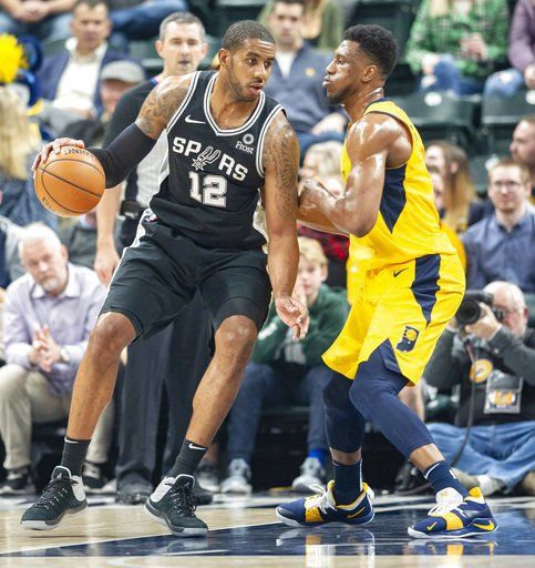 Aldridge scores 33 to lead Spurs over Pacers 111-100