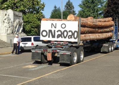Log truck protest