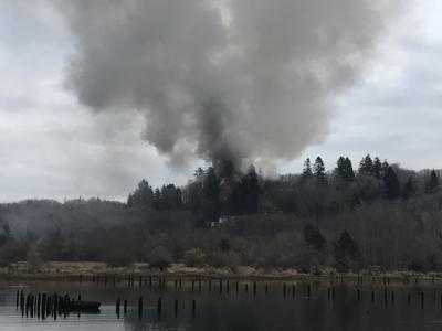 House fire near Tongue Point
