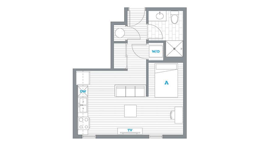 The Soto - Studio Floorplan