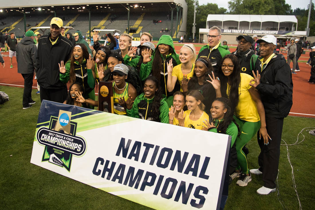 Photos: Oregon women's track and field win the National Championship, complete triple crown