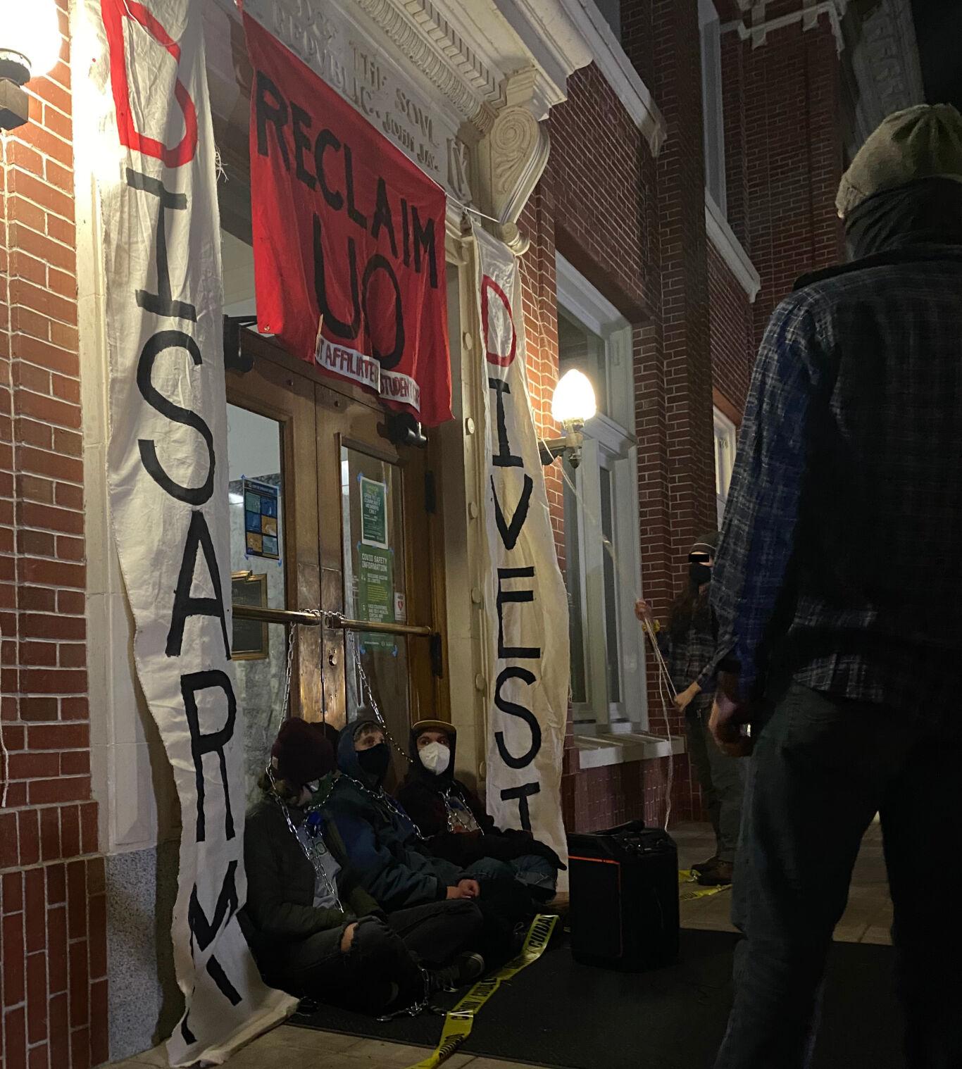 Johnson Hall Occupation Banner Drop