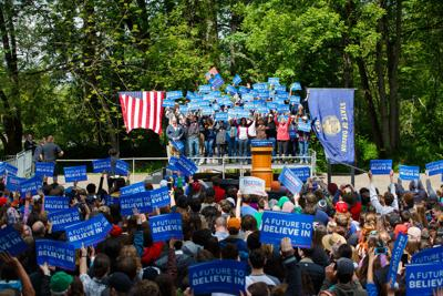 Bernie Sanders supporters show up to rally in droves despite candidate's recent slump