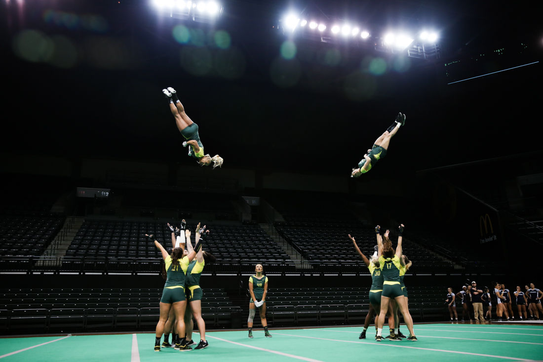 Photos: Oregon Acrobatics and Tumbling rise above Gannon, fall short to Quinnipac in tri-meet