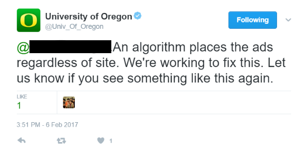 University is taking action regarding ads appearing on Breitbart