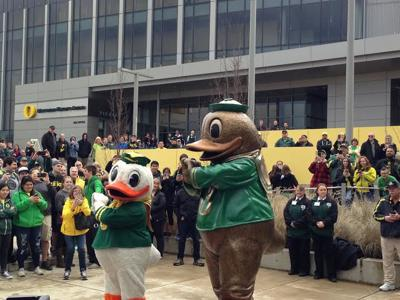 Bronze Duck arrives to campus in dedication to Clarey family