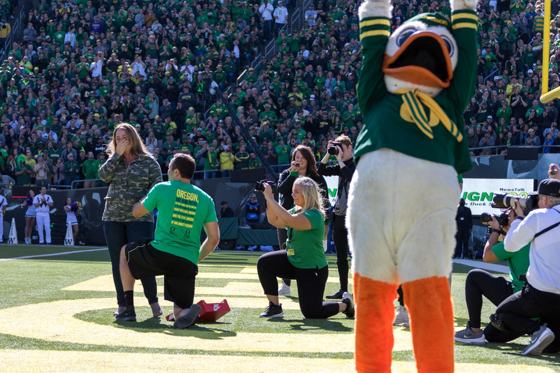 An unlikely love story: the couple that got engaged at the Duck game