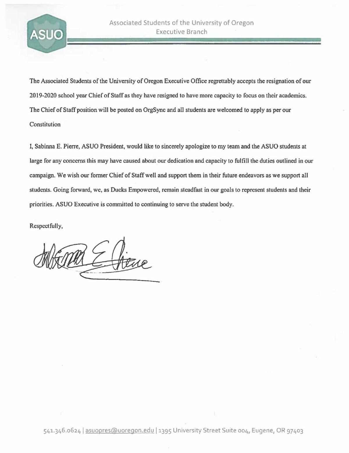Pierre Accepts Chief of Staff Resignation