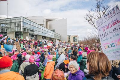Protesters in Eugene's Women's March for Action sustain movement's energy from last year