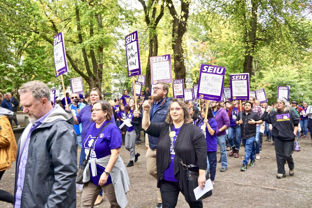 SEIU workers prepare to strike