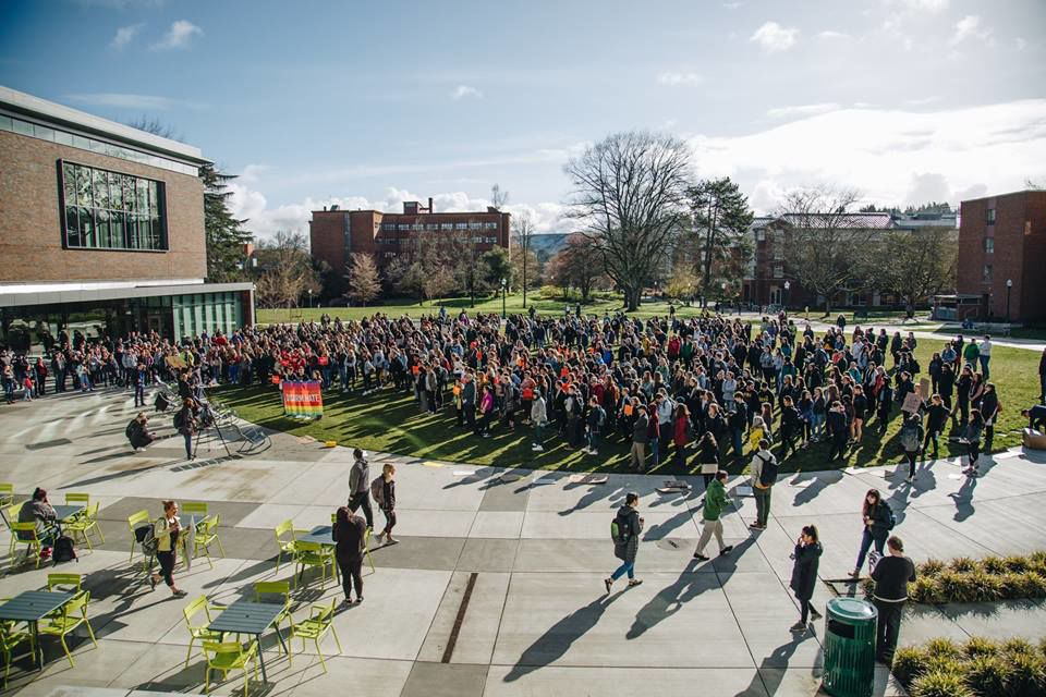 UO students walk out of class to demand stricter gun regulation