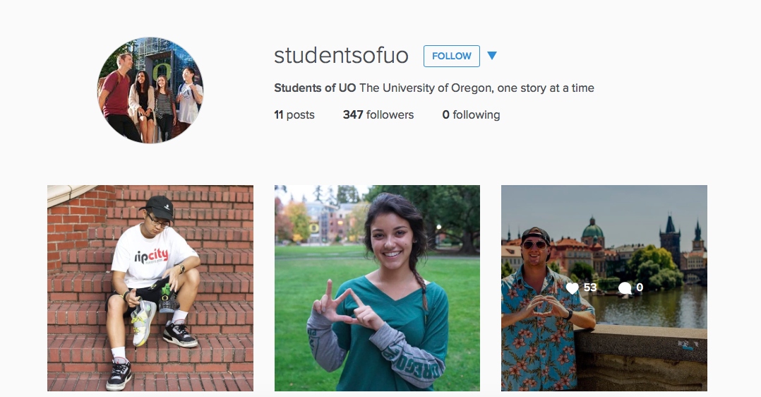 Instagram page Students of UO forms a human tapestry of university community