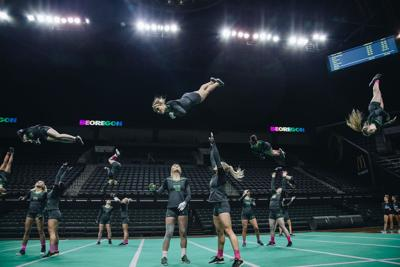 Oregon acrobatics and tumbling loses to Baylor in first meeting of the season
