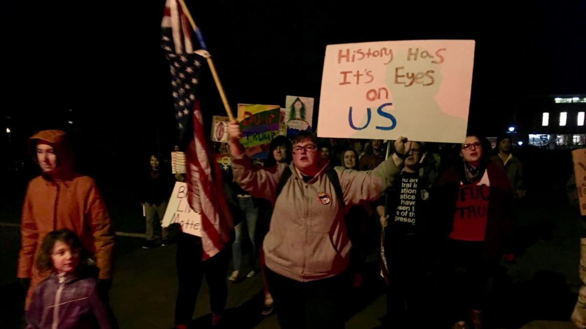 Students march against Trump after inauguration