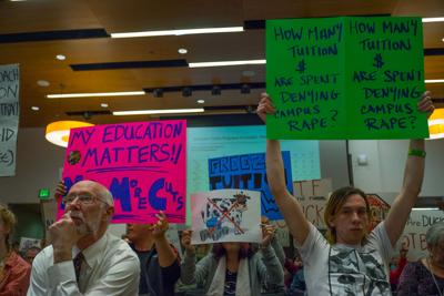 Student tuition protest sends board of trustees meeting into recess as vote on increase looms