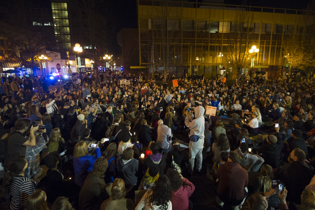 Photos: Oregon students lead protest of Donald Trump to downtown Eugene