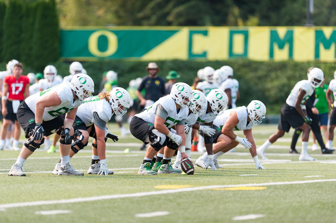 With an influx of freshmen and transfers, the Ducks' offensive line depth is a new strength for the 2018 season
