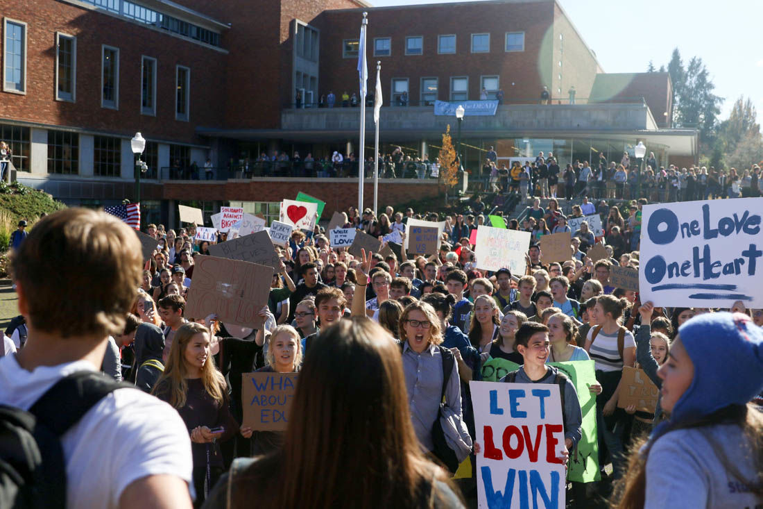 Photos: UO and high school sudents rally in protest against Trump