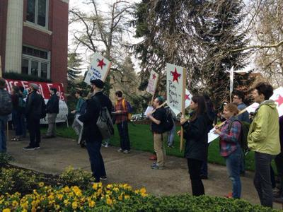 """GTFs rally for """"a fair day's pay without delay""""   Administration"""