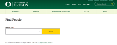 University website UO Find People gives access to student's personal information