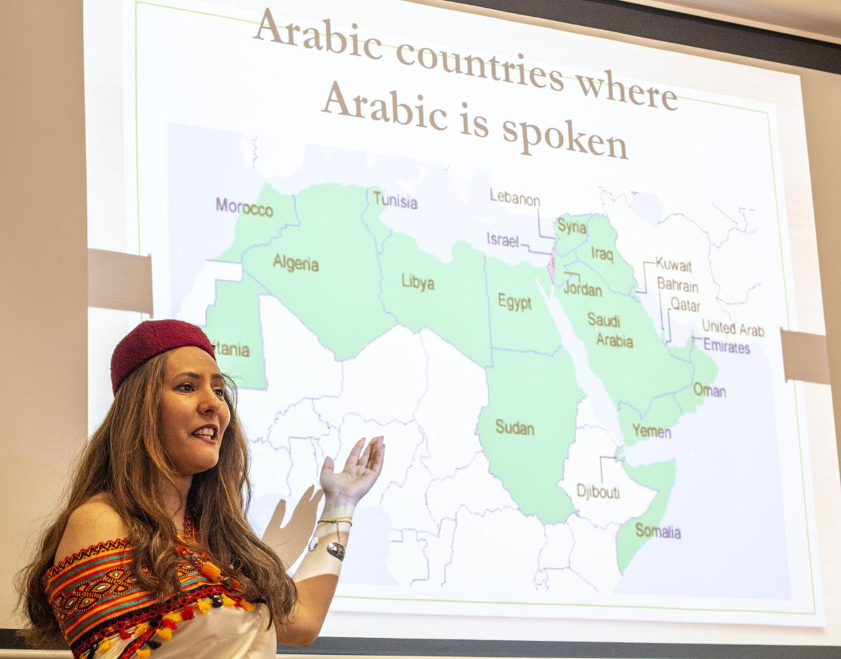 Faten Arfaoui, Arabic language instructor, gives a presentation on Arabic at the Annual Foreign Language and International Studies day