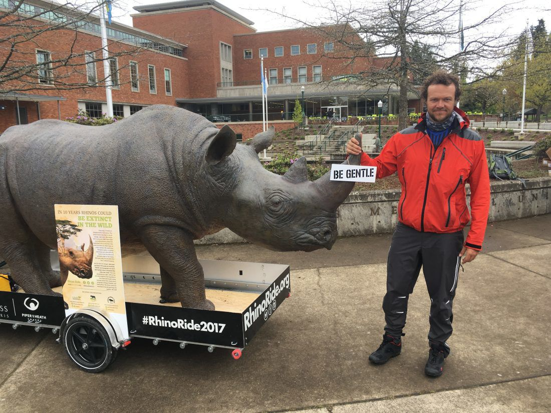 The Rhino Ride visits the EMU Amphitheater to promote rhino conservation