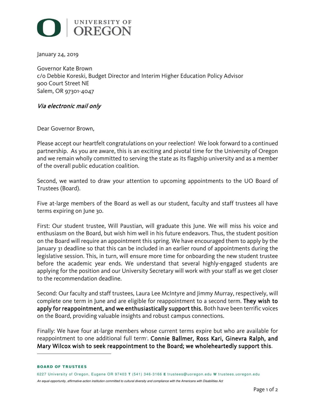 Administration BOT Appointment Letter to Gov. Brown