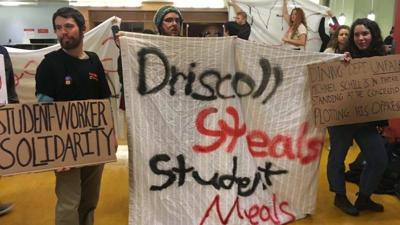 Students protest over new cost of dining worker shift meals