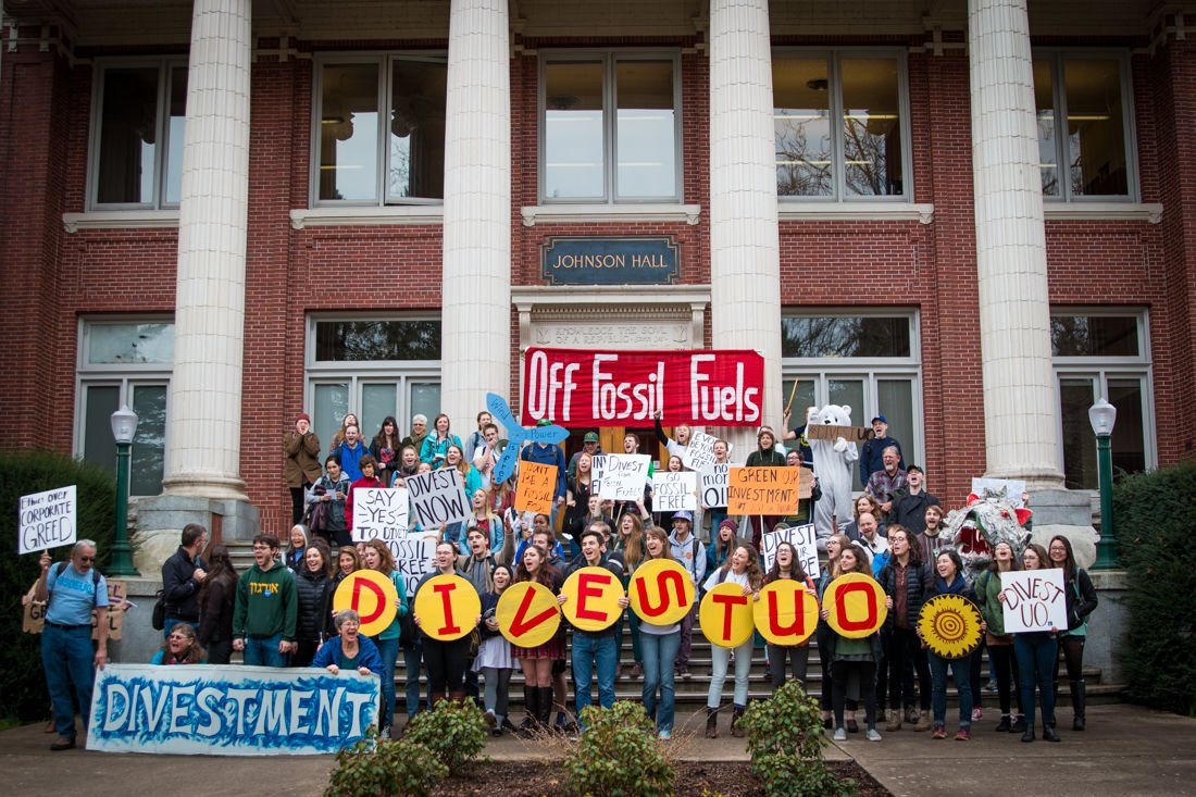 Dozens march to protest UO Foundation's connection to fossil fuel companies