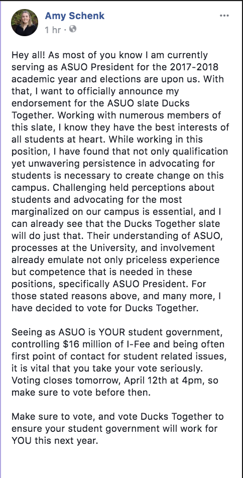 ASUO President Amy Schenk endorsed Ducks Together Wednesday