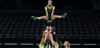 Oregon acrobatics and tumbling bounces back with season high score in home meet