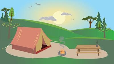 Camping Around Eugene Illustration