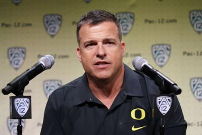 Oregon football head coach Mario Cristobal addresses the media during Pac-12 media day in Hollywood, California.