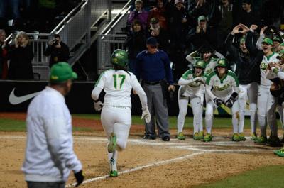 Oregon softball run-rules Weber State 9-1 in home opener
