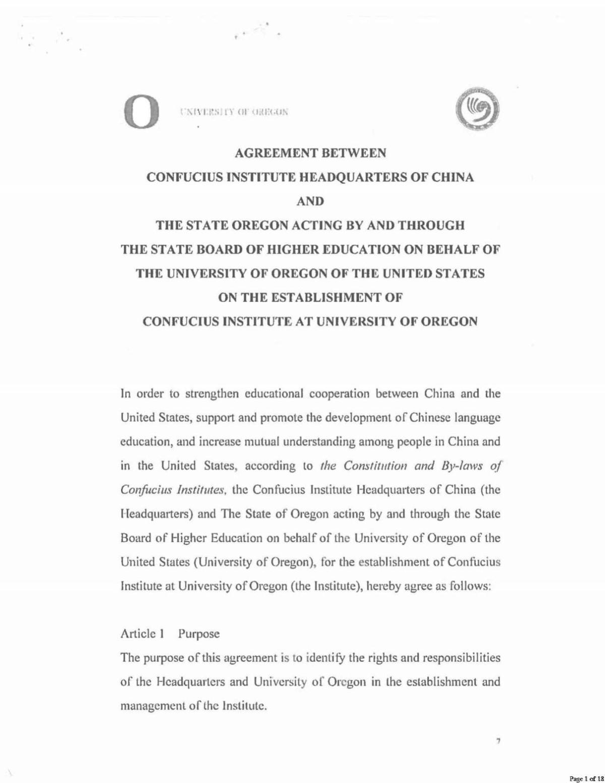Confucius Institute Agreement