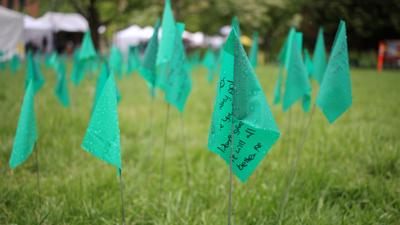 1,100 flags for 1,100 college suicides on the Condon Hall lawn