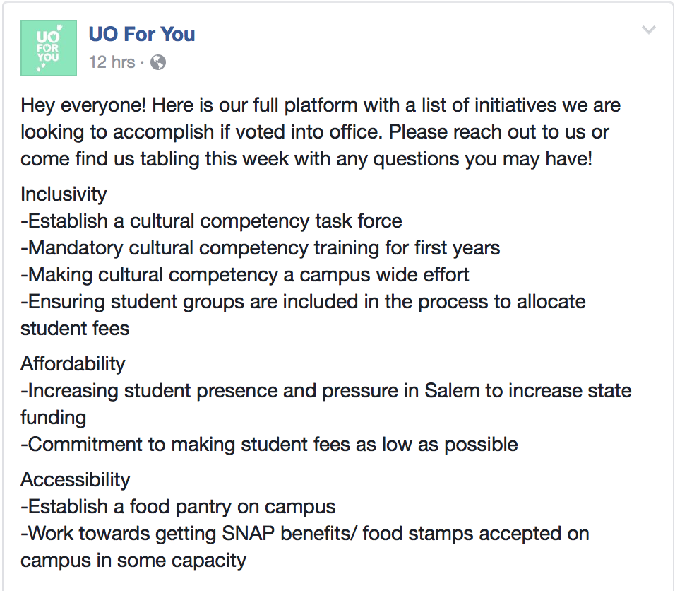2017 ASUO Elections: A look at UO For You's updated campaign promises