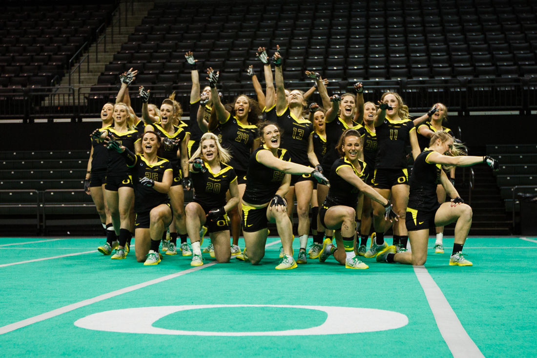 Photos: Oregon acrobatics and tumbling prevails over Azusa Pacific Tigers & Fairmont State Falcons