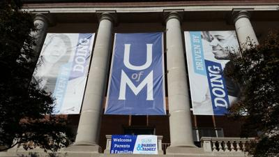 Banners at the Admin Building University of Memphis Campus