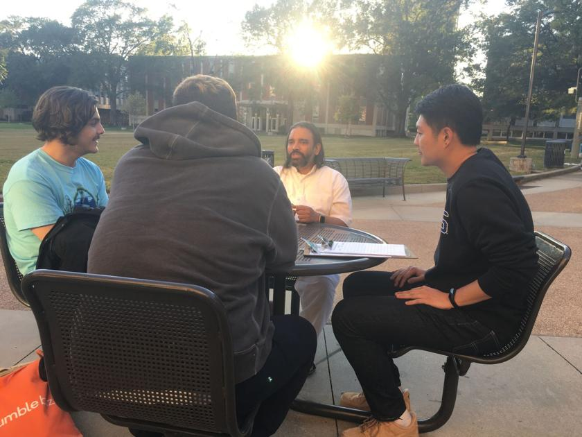 Meditation group held outside UC to share practice with students