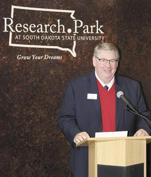 <p>MICHAEL ZIEBELL, president and CEO of Tru Shrimp, announces on Thursday a new relationship for his company with the Research Park at South Dakota State University at Brookings. Researchers at SDSU will help tru Shrimp investigate the uses of chitosan, a natural polymer found in the shells of shrimp.</p>