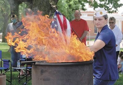 Chester American Legion holds flag burning ceremony